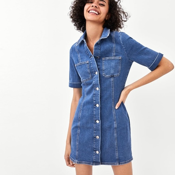 7ef8e0069fb Zara authentic short sleeve denim dress